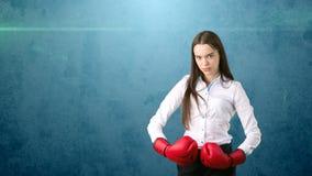 在站立在与红色拳击手套的作战姿势的白色衬衣的年轻美丽的妇女礼服 到达天空的企业概念金黄回归键所有权 免版税图库摄影