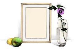 在站立在桌上的框架的模板图片在一个玻璃花瓶旁边有花的和有苹果计算机和柠檬的 皇族释放例证