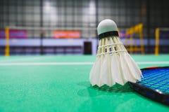 在竞争的羽毛球的羽毛球shuttlecock 免版税库存照片