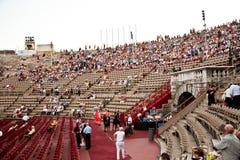 在竞技场二维罗纳,意大利的观众 免版税图库摄影