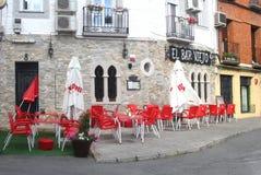 在竞技场de圣佩德罗火山,阿维拉,西班牙禁止餐馆 图库摄影