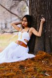 在童话森林里塑造美丽的白色礼服的华美的少妇坐地面 库存图片