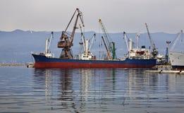 在端口的船 力耶卡 克罗地亚 图库摄影