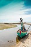在端的渔船停车 免版税库存图片