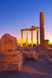 在端,日落的土耳其的老废墟 库存图片