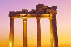 在端,日落的土耳其的老废墟 图库摄影