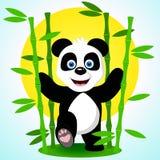 在竹分支中的逗人喜爱的熊猫 也corel凹道例证向量 免版税库存照片