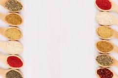 在竹匙子的分类五颜六色的搽粉的香料作为装饰边界 库存照片