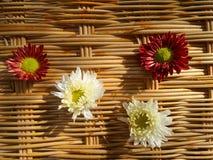 在竹子的红色和白花weaven墙壁 免版税库存图片