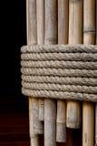 在竹子的绳索领带 库存图片