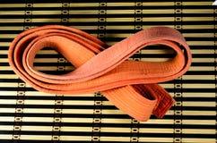 在竹席子的武术橙色传送带 免版税库存图片