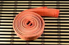 在竹席子的武术橙色传送带 库存照片