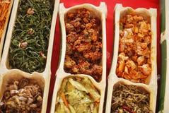 在竹荚的Dusun传统食物 免版税库存照片