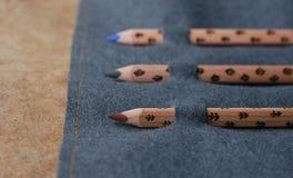 在笔匣的三支铅笔 免版税库存图片