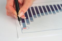 在笔的企业女性图形现有量藏品 免版税库存图片