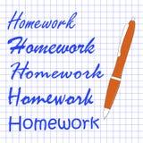 在笔记本板料的家庭作业另外手写 免版税图库摄影