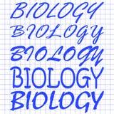 在笔记本板料的生物不同的手写 库存图片