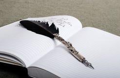 在笔记本的一根羽毛 库存照片