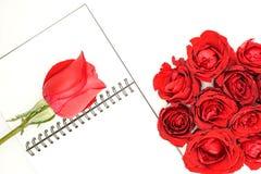 在笔记本的红色玫瑰 图库摄影