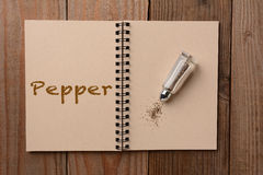 在笔记本的胡椒振动器 库存图片