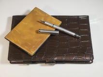 在笔记本的金属球和钱包笔 库存照片