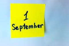 在笔记本的9月1日题字 免版税图库摄影