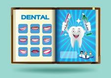 在笔记本页传染媒介例证的牙齿集合 免版税库存图片