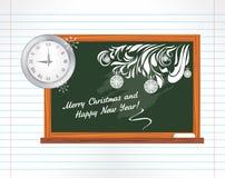 在笔记本页的黑板。圣诞节学校  向量例证