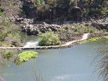 在第一个水池,朗塞斯顿,塔斯马尼亚岛的峡谷风景驾空滑车 库存图片