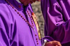 在第一星期天Lent,悔罪者特写镜头,安提瓜岛,危地马拉 库存图片