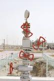 在第一泉源油井适合的多个阀门海湾,巴林 库存照片