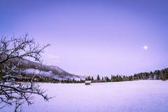 在第一降雪以后的日落 图库摄影