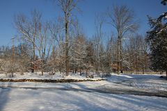 在第一雪以后的早晨 库存图片