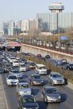 在第三条环行路,北京,中国的交通堵塞 库存照片