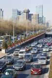 在第三条环行路,北京,中国的交通堵塞 免版税库存照片