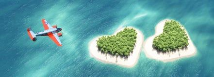 在第二个心形的热带海岛上的飞机 图库摄影