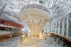 在第二个阶段中央支柱的建筑工作  图库摄影