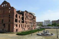 在第二次世界大战1941-1945期间,纪念品是斯大林格勒战役 被破坏的磨房 库存照片