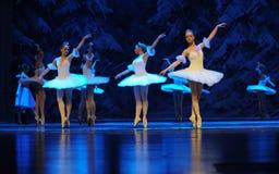 在第四个领域雪国家表面首先反射这行动-芭蕾胡桃钳的冰和雪矮子 库存照片