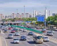 在第四条环行路,北京,中国的交通堵塞 免版税库存照片