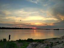 在第聂伯河东欧的日落 库存照片
