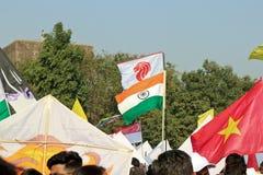 在第29个国际风筝节日的印地安旗子2018年-印度 免版税图库摄影