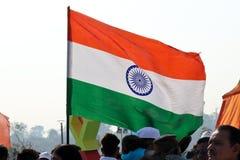 在第29个国际风筝节日的印地安旗子2018年-印度 免版税库存图片