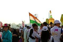 在第29个国际风筝节日的印地安风筝飞行物2018年-印度 免版税库存照片