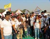 在第29个国际风筝节日的印地安风筝飞行物2018年-印度 库存照片