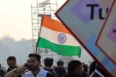 在第29个国际风筝节日的印度旗子2018年-印度 库存照片