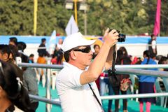 在第29个国际风筝节日的风筝飞行物2018年-印度 免版税库存照片