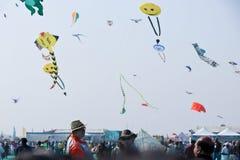 在第29个国际风筝节日的风筝飞行物2018年-印度 免版税库存图片