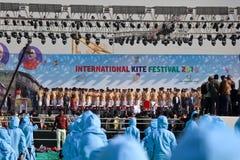 在第29个国际风筝节日的Opning仪式2018年-印度 库存图片