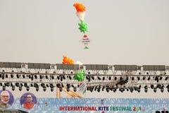 在第29个国际风筝节日的Opning仪式2018年-印度 免版税库存照片